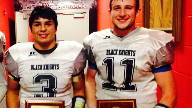 Robbinsville football players Cruz Galaviz and Skyler Matheson.