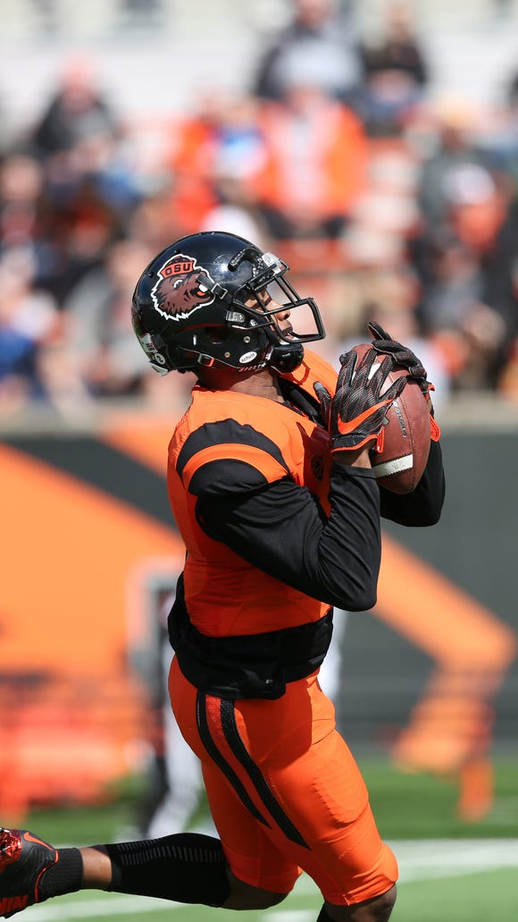 Oregon State's Hunter Jarmon had five catches for 155 yards and two touchdowns in the Beavers' spring game on Saturday, March 18, 2017, at Reser Stadium in Corvallis.