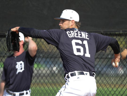 Tigers pitcher Shane Greene completed eight of nine
