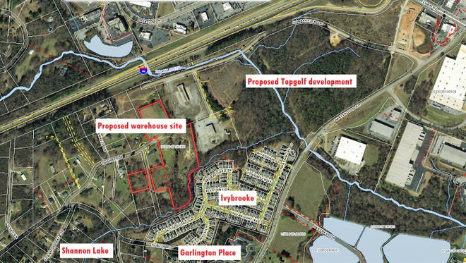 Residents of neighborhoods bordering the developing Topgolf complex are resisting the rezoning of about 15 acres of property -- proposed as the site of a future warehouse -- that lies between their homes off Dublin and Garlington roads in Greenville's eastside.