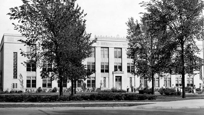 """This photo, taken by local historian Tom Taylor in the 1930s for his book """"100 Years of Pictorial & Descriptive History of Wisconsin Rapids, Wis.,"""" shows the second or """"new"""" Lincoln High School building — now known as East Junior High School — along Lincoln Street in Wisconsin Rapids."""