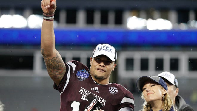 Former Mississippi State quarterback Dak Prescott fell to the third day of the NFL Draft on Saturday.