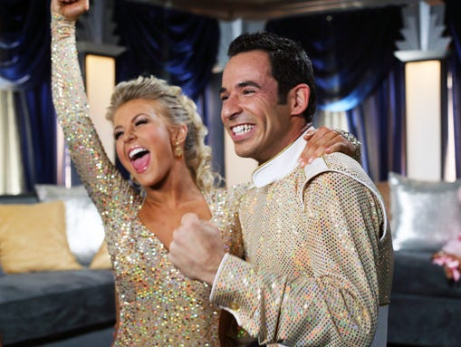 """FILE - In this Nov. 26, 2007 file photo released by ABC, Helio Castroneves, right, and his partner Julianne Hough react to their scores by the judges after competing on the celebrity dance competition series """"Dancing with the Stars."""" ABC says an """"All-Star"""" edition of the competition show will bring back 12 former rivals including Pamela Anderson, Kristie Alley, Bristol Palin and previous winner Castroneves. In a break from the past, viewers can vote online for the 13th contestant from three former contestants including actors Kyle Massey and Sabrina Bryan and celebrity stylist Carson Kressley. The celebrity dance competition series returns on ABC on Sept. 24.  (AP Photo/ABC, Carol Kaelson)"""