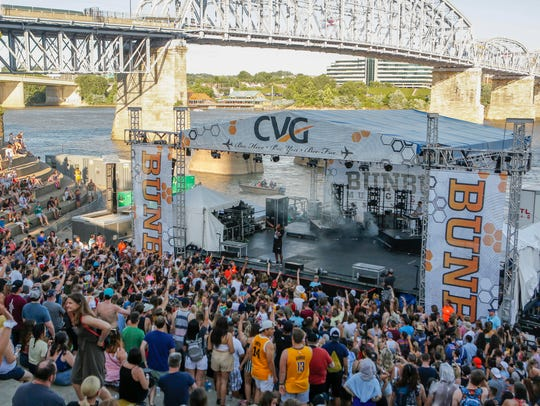 Lecrae performs at the CVG River Stage during the final