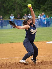 Ramsey's Victoria Sebastian pitches during the county softball championship game at Mahwah High school. Sparked by Sebastian's game-tying three-run homer in the bottom of the second, the top-seeded Rams battled back and continued tacking on runs as they defeated the No. 3 Blue Wolves, 13-4, for their first county title since 1994 Saturday at Mahwah.    Photo Assignment ID: 00028652A  Slug: Bergen Softball Final  Bureau: Daily Division  Publication: The Record  Desk: Sports