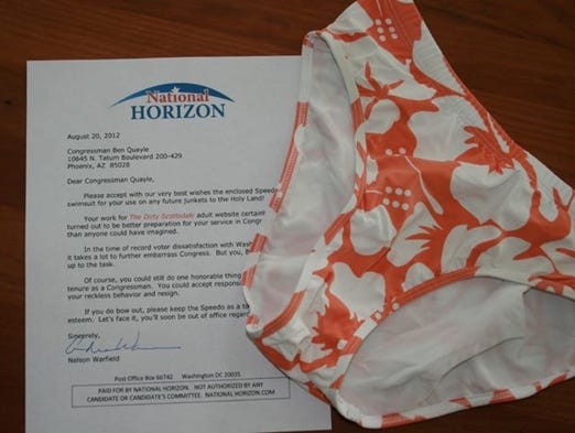 Political groups seeking to influence Arizona congressional elections are spending more than ever. National Horizon is one example. The orange Speedo the group bought for a prank against then-Rep. Ben Quayle, R-Ariz., cost pocket-change, but by the end of the 2012 election, the group had pumped more than $200,000 into the race.