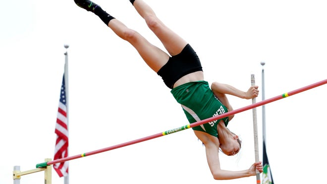 Margaretta's Kassidie Stimmel competes in the girls pole vault Friday, June 1, 2018, during the state track and field championship at Jesse Owens Memorial Stadium in Columbus.