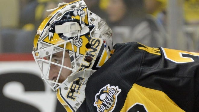 Pittsburgh Penguins goalie Matt Murray (30) looks on during the second period of Game 2.