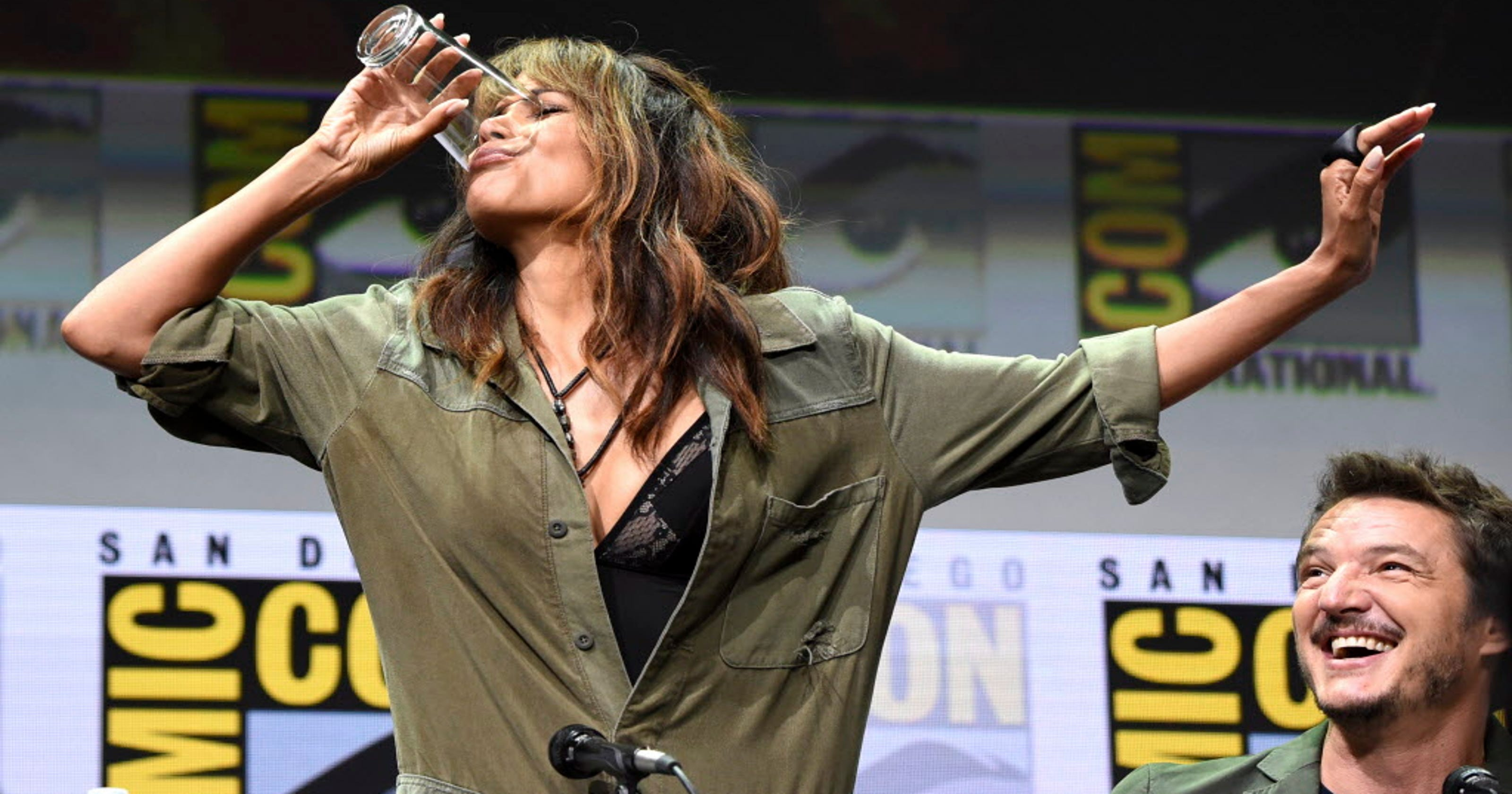 Halle Berry Chugs Bourbon During A Wild Kingsman Panel At Comic Con