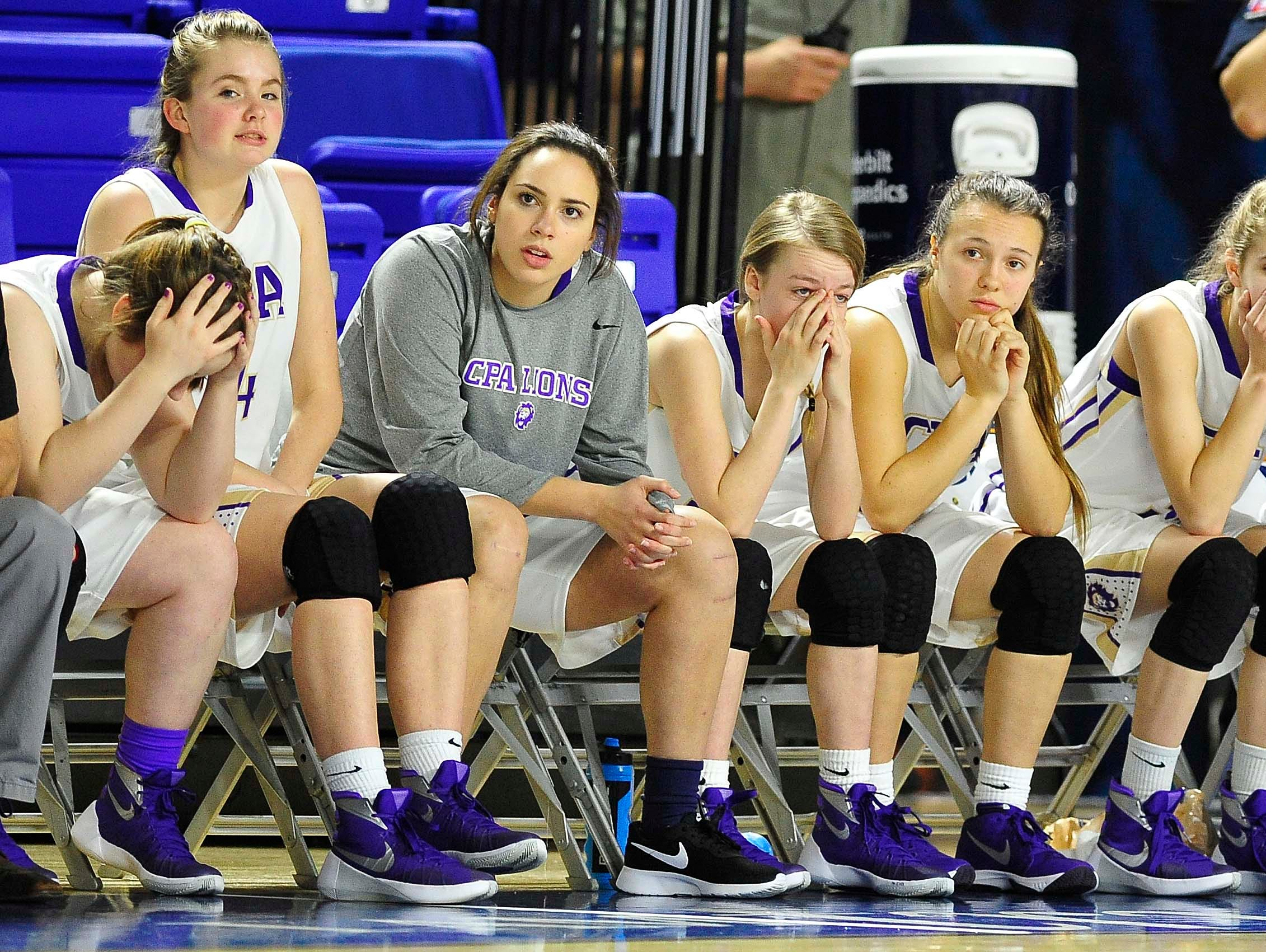 CPA's bench looks on in a final seconds of the game as East Nashville wins 47-35 in the Division I Class AA Girl's basketball tournament at the Murphy Center on MTSU's campus March 10, 2016 in Murfreesboro, Tenn.