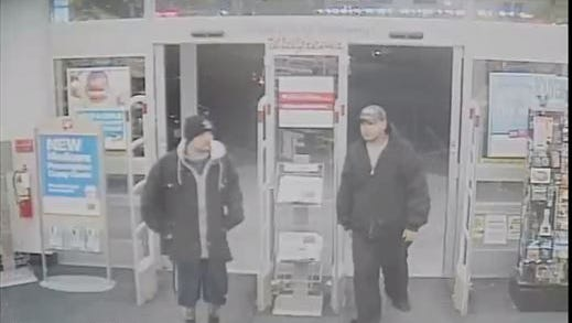 A photo from surveillance footage shows two suspects wanted in connection with a January stabbing in Anthony, Texas.
