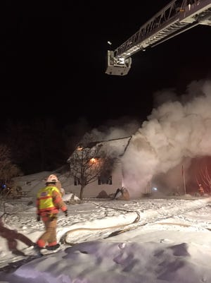 Firefighters from across the area were called to 1906 Third St., Merrill, Tuesday evening, after a Christmas tree burst into flames.