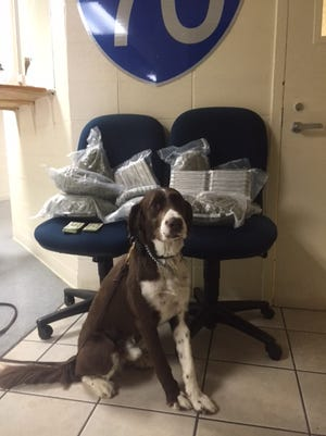 Manni, a Hancock County Sheriff's Department K-9, alerted to marijuana inside a vehicle during a traffic stop by Richmond Police Department Officer David Glover on Interstate 70.