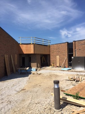 Progress is being made on the new Oak Harbor High School security vestibule, which will help control the access and movements of visitors to campus, and improve the safety of all.