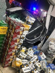 A car hit a woman and smashed into the Shell gas station