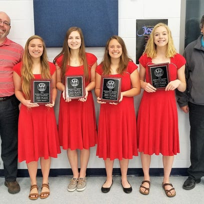 Manitowoc Lutheran 'The 4 Gals in Red Dresses' third in Wisconsin Youth Harmony Festival
