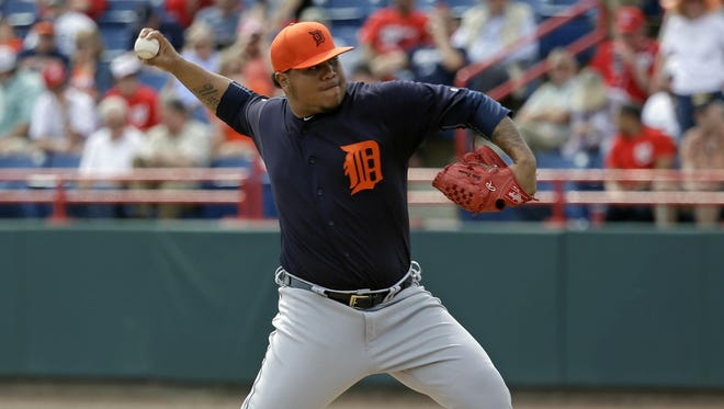 """Despite a 9.00 ERA, Bruce Rondon continued to show some of the potential that made him a closer candidate during spring training in 2013. """"He's been real good on days and scuffled on days,"""" manager Brad Ausmus said."""