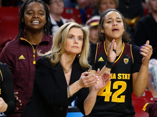 FILE - In this Feb. 5, 2016, file photo, Arizona State coach Charli Turner Thorne and players watch during the team's game against UCLA in Tempe, Ariz. Arizona State played Syracuse, Washington and Oregon State this season–three of the teams in the Final Four of the NCAA women's basketball tournament. (AP Photo/Rick Scuteri, File)