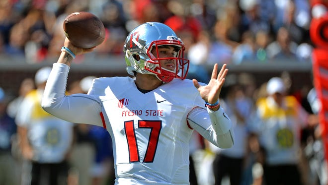 Fresno State quarterback Zack Greenlee (17) releases a pass during the first quarter of an NCAA college football game against Mississippi in Oxford, Miss., Saturday, Sept. 12, 2015.
