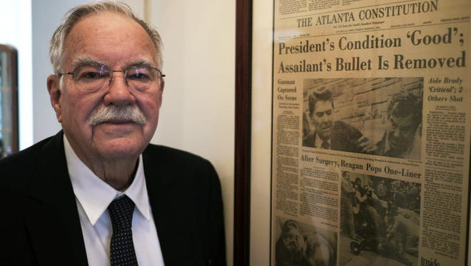 Jerry S. Parr was one of the  Secret Service agents praised for helping protect President Reagan during an assassination attempt  in  1981. He died Friday. The picture was taken 2011.