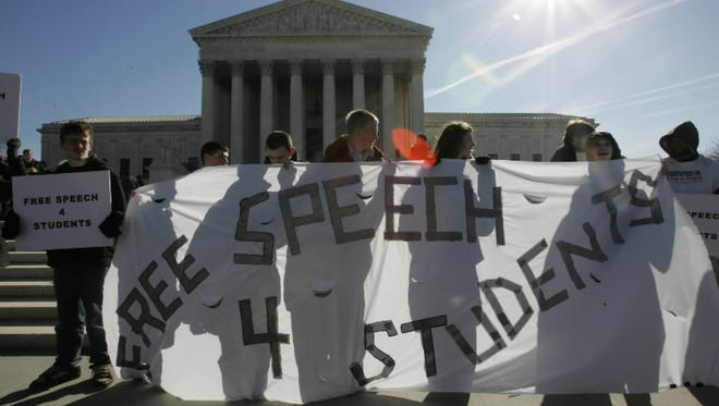 Protesters in front of the Supreme Court in 2007.