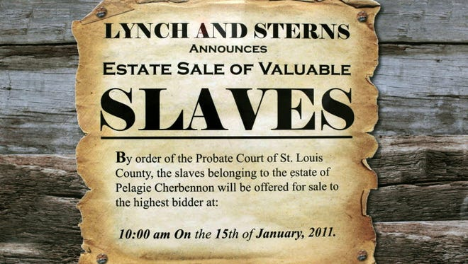 A mock flier advertising the re-enactment of a mid-19th century slave auction in St. Louis in 2011.