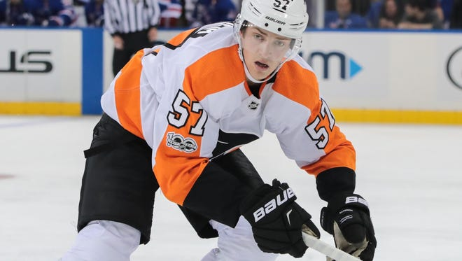 Travis Sanheim made his NHL debut Thursday night against the Los Angeles Kings.