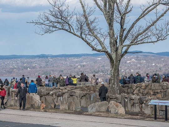 Crowds gather at Hawk Watch on Sunday, Jan. 29, 2017, to look for the gyrfalcon.