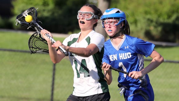 Brewster's Michelle Feighan with the ball during the