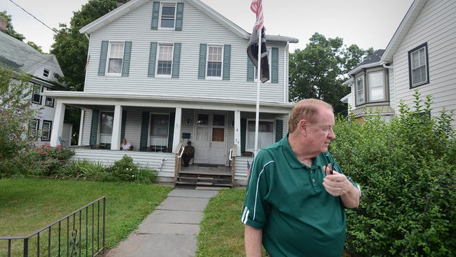 State Sen. Richard Codey outside Hillside Manor in Dover after conducting a surprise visit to check on conditions.