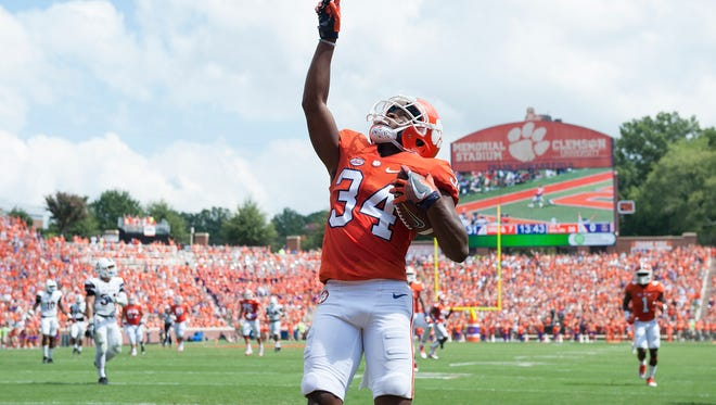 Clemson wide receiver Ray Ray McCloud (34) reacts after catching a TD against SC State during the 2nd quarter on Saturday, September 17, 2016 at Clemson's Memorial Stadium.