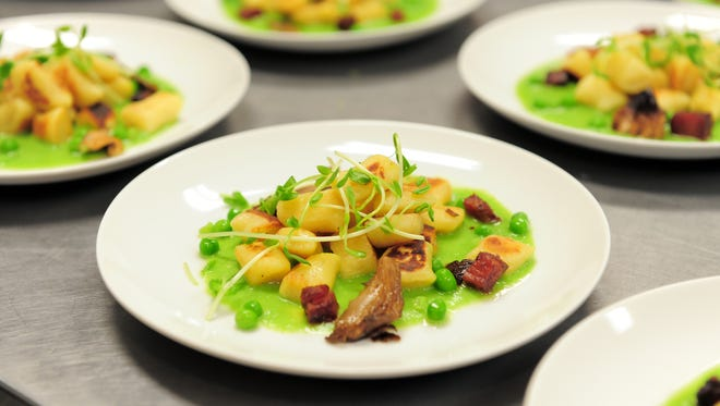 Farm-fresh produce is the star of the show at Johnson's Corner Farm in Medford. This dish is hand-made Ricotta Gnocchi with Panchetta and Wild Mushrooms atop a Spring Pea Puree