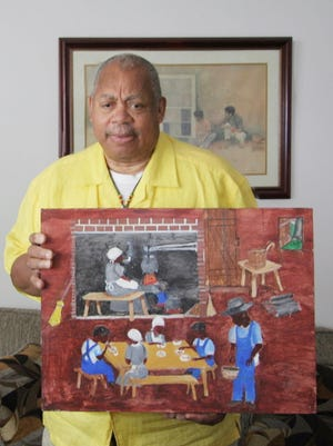 For his Penn School series, artist Henry Drakeford uses bright colors, broad and direct paint application, as well as the skewed scale to convey a sense of the joy of family life and community as well as the importance of education.