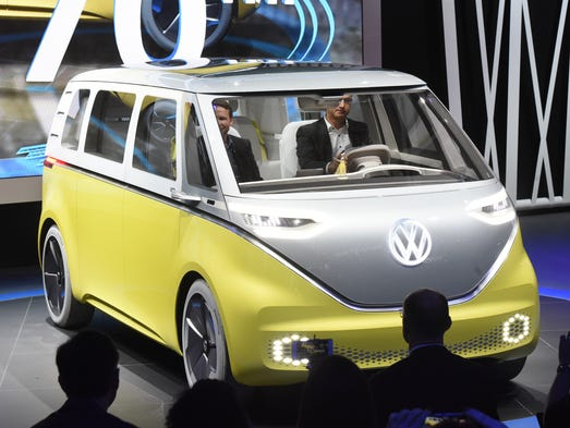 The Volkswagen I.D. Buzz concept is driven onto the