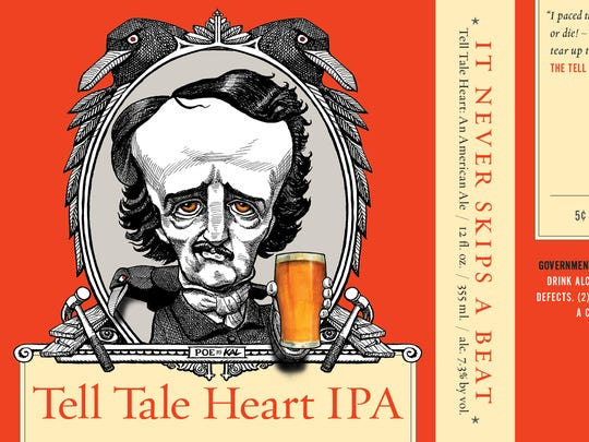 "A foreboding Edgar Allan Poe caricature by cartoonist  Kevin ""Kal"" Kallaugher is the logo for Raven Beer in Baltimore. Pictured is the label for the Tell Tale Heart IPA."