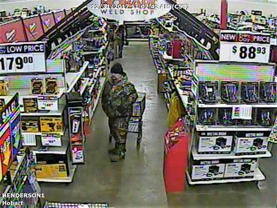 Surveillance footage of man suspected of stealing welder