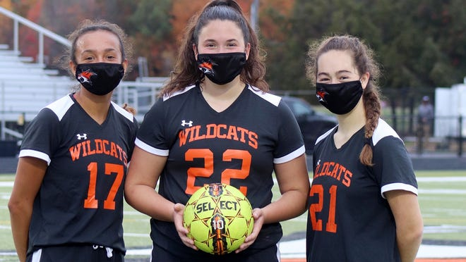 The Gardner High girls' soccer team's captains for the shortened 2020 season are, from left to right, senior Savannah Pineda, senior Hannah Stewart, and junior Becca Cormier.