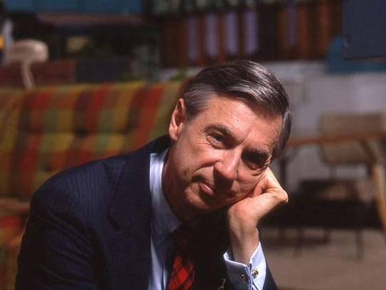 """Fred Rogers, shown on the set of his show """"Mr. Rogers'"""