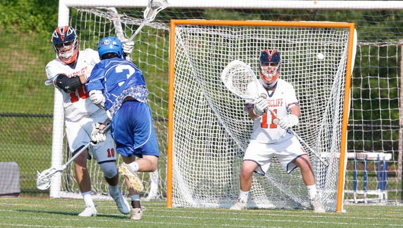Briarcliff goalie Henry Anderson (11) prepares for