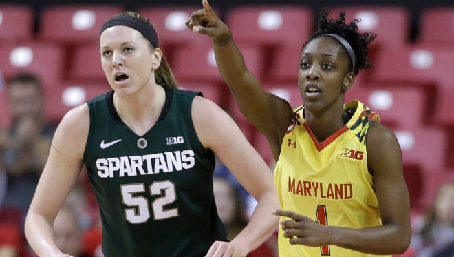 Maryland guard Laurin Mincy, right, points to teammate Malina Howard, not seen, after she scored  against Michigan State forward Becca Mills on Jan. 22, 2015, in College Park, Md.