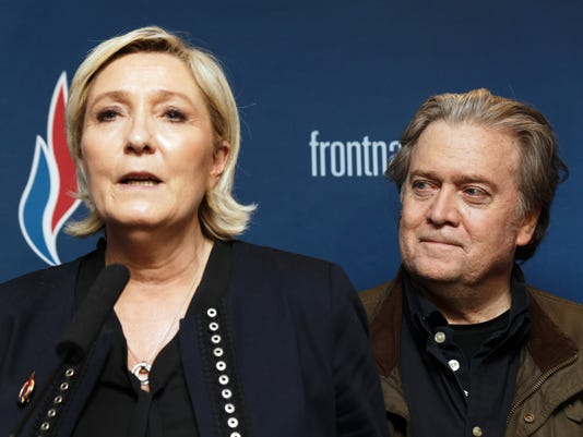 Marine Le Pen and Steve Bannon in France on March 10, 2018