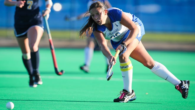 Senior Allie Mikelson and her UD teammates are shooting for a third straight NCAA Field Hockey Tournament berth.