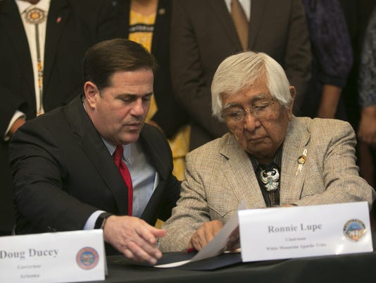 Gov. Doug Ducey and White Mountain Apache Chairman Ronnie Lupe