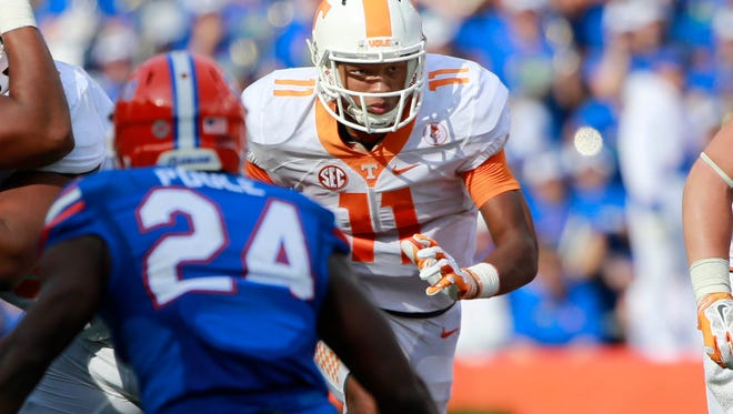 Tennessee quarterback Joshua Dobbs runs against Florida during last year's game in Gainesville. He rushed for 136 yards against the Gators, who won 28-27.