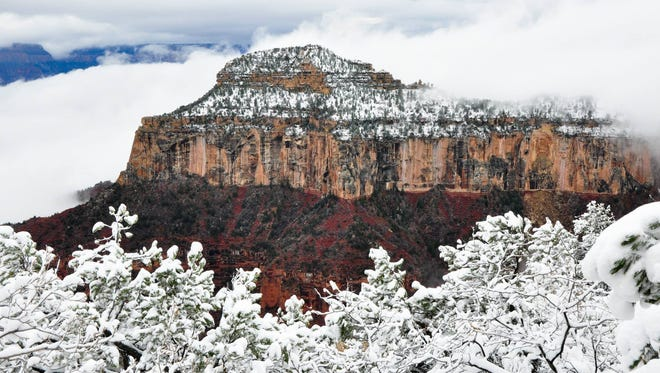 A winter storm hits the Grand Canyon.