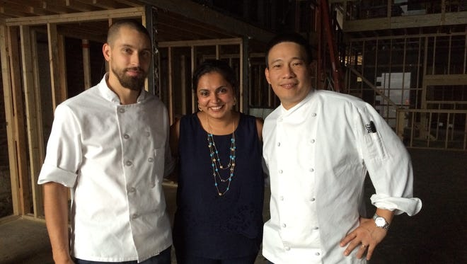 Alex Sidorov, left, Maneet Chauhan and Chris Cheung are the culinary team behind Tansuo, a new Asian-inspired restaurant opening in the Gulch in the fall.