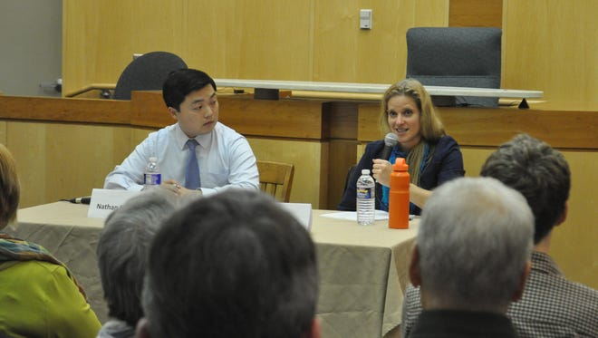 Democratic candidate Nate Shinagawa and Ithaca Community candidate Anna Kelles answered a series of questions put forward by audience members during a public forum Tuesday.