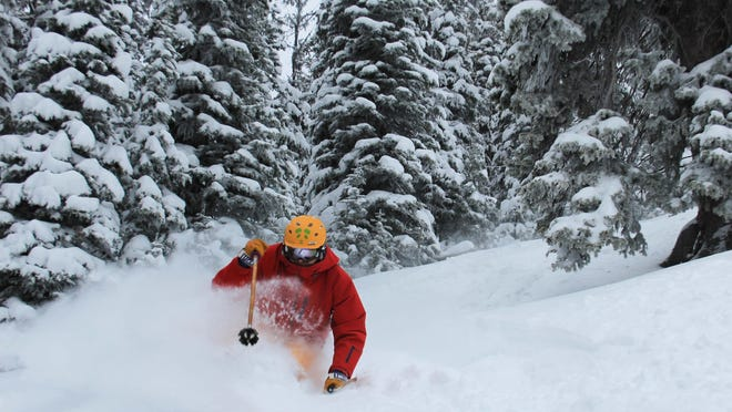 Jake Larson skis at Showdown Montana on Friday. Showdown received almost 30 inches of snow last week.