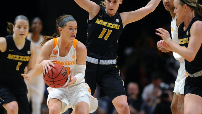 Tennessee's Alexa Middleton (33) and the Lady Vols are trying to get better grip on their mind-set for facing opponents' aggressive play.