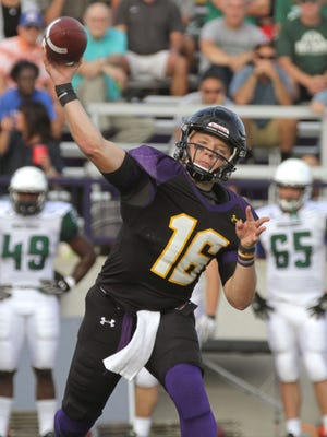 Ashland University quarterback Travis Tarnowski throws a pass during Thursday's season-opening 48-0 win over Mercyhurst.